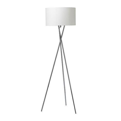 Gulvlampe, krom m. hvid skærm / floor lamp, chrome w. white lamp shade
