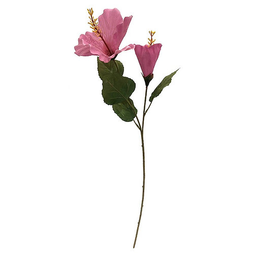 Hibiskus på stilk, lyserød / Hibiscus flower on stem, pink