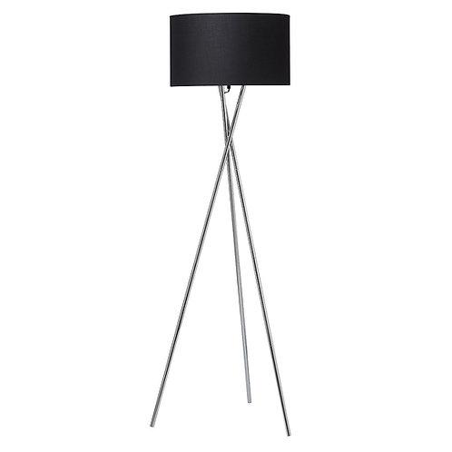 Gulvlampe, krom m. sort skærm / floor lamp, chrome w. black lamp shade