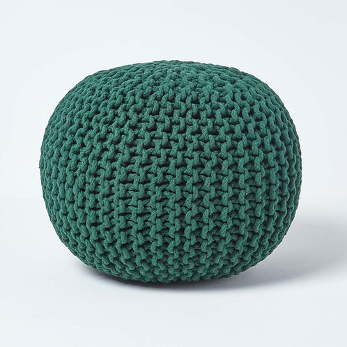 Puf, grøn strik / Pouf, green knit