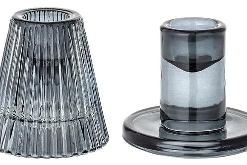 Lysestage, grå, glas / Candlestick, grey, glass