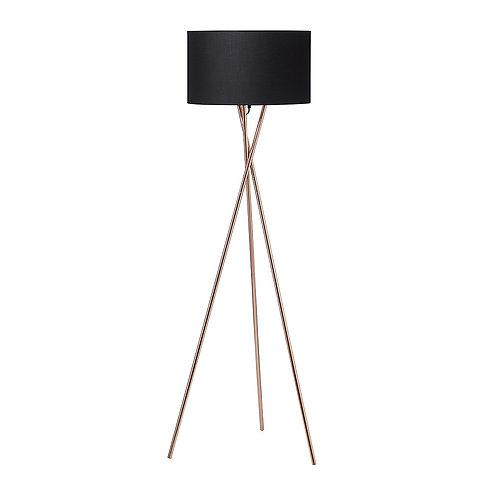 Gulvlampe, kobber m. sort skærm / floor lamp, copper w. black lamp shade
