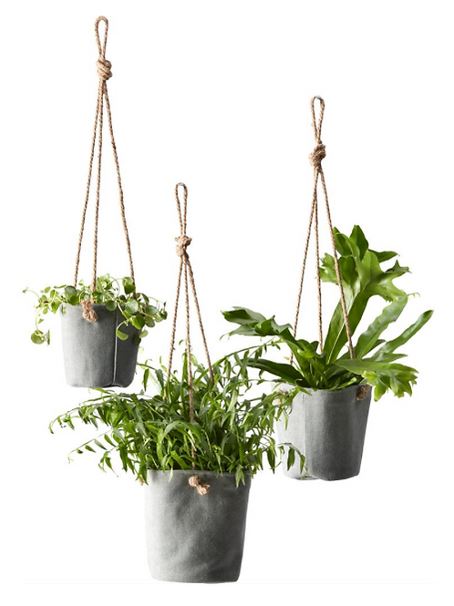3 canvas potter til ophængning, grå / 3 canvas plant pots for hanging, grey