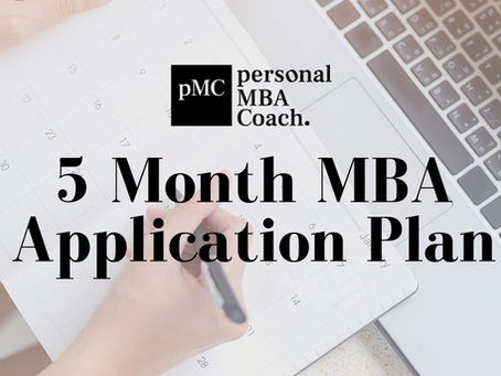 Personal MBA Coach's 5 Month MBA Application Plan
