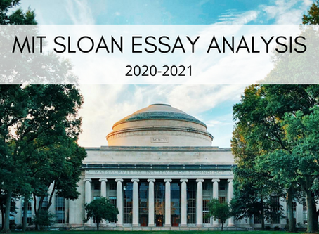 MIT Sloan 2020-2021 MBA Application Tips