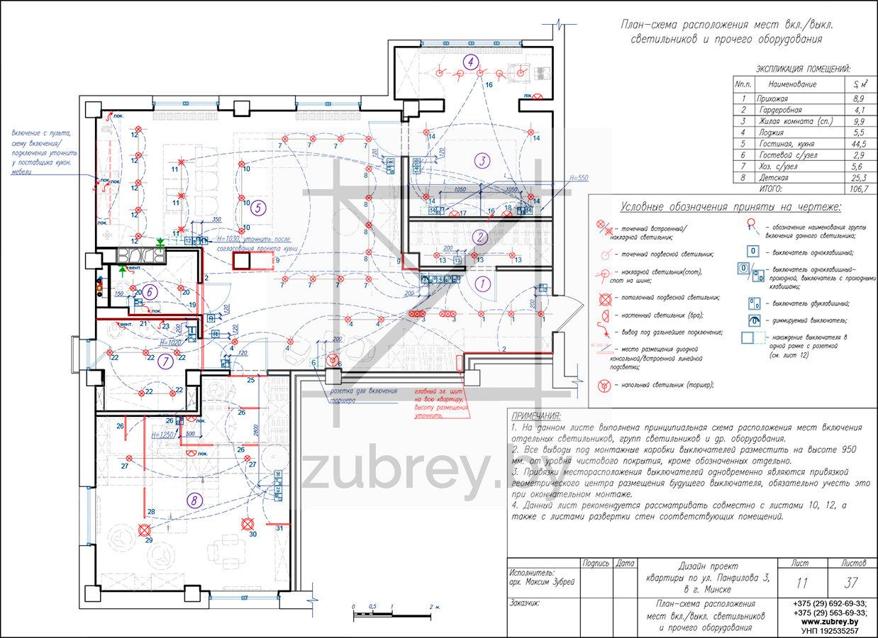 план-схема размещения мест включения источников освещения