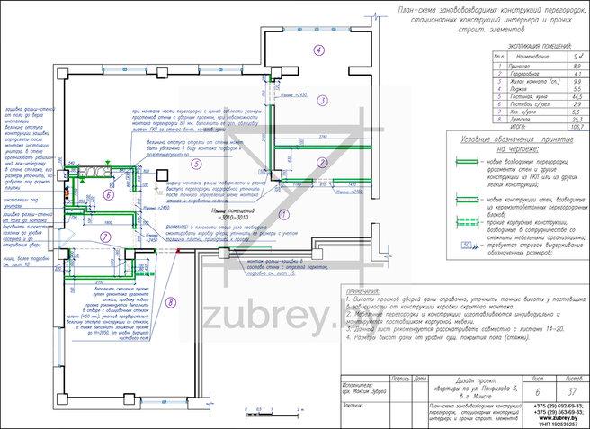план-схема возводимых конструкций, перегородок и фрагментов стен