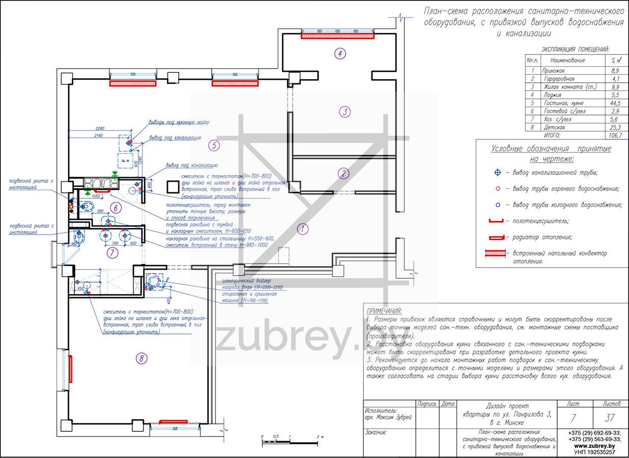 план схема выводов водоснабжения, канализации и отопления