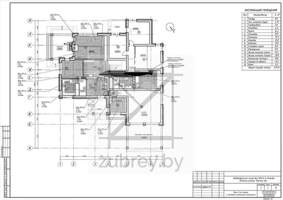 лист с палном напольного отопления 1-го этажа