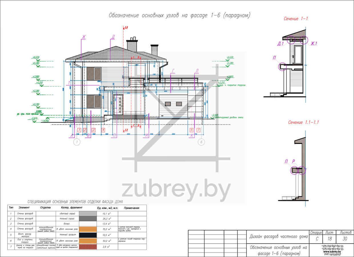 чертёж дизайна фасадов дома с указанием сечений и узлов
