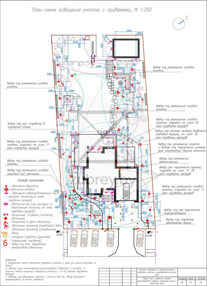 план-схема освещения участка