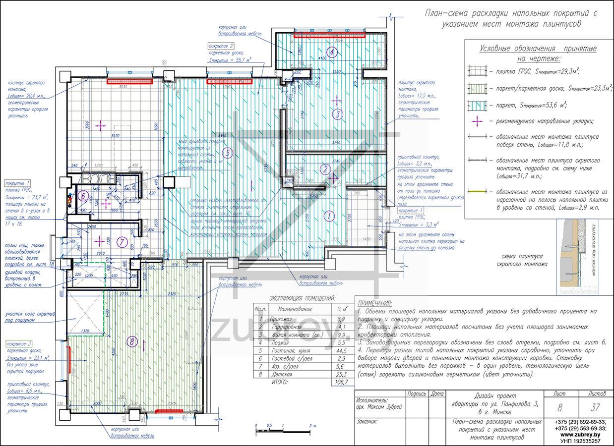 план-схема раскладки напольных покрытий с указание их типа
