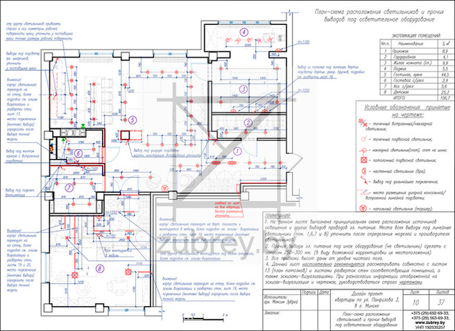 план-схема размещения источников освещения всех видов