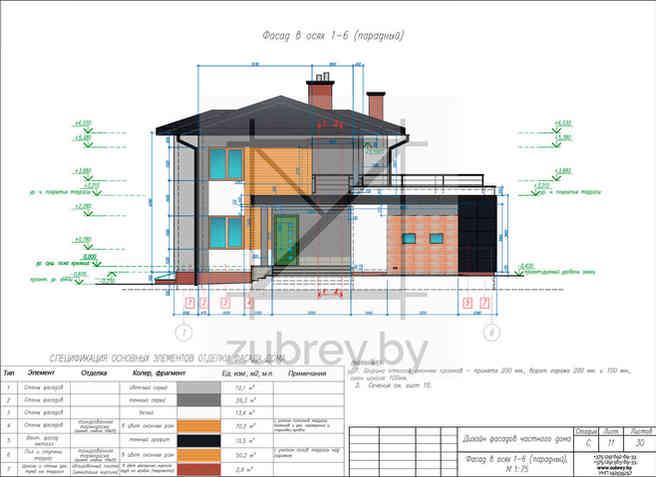 чертёж дизайна фасадов дома с указанием вида отделки