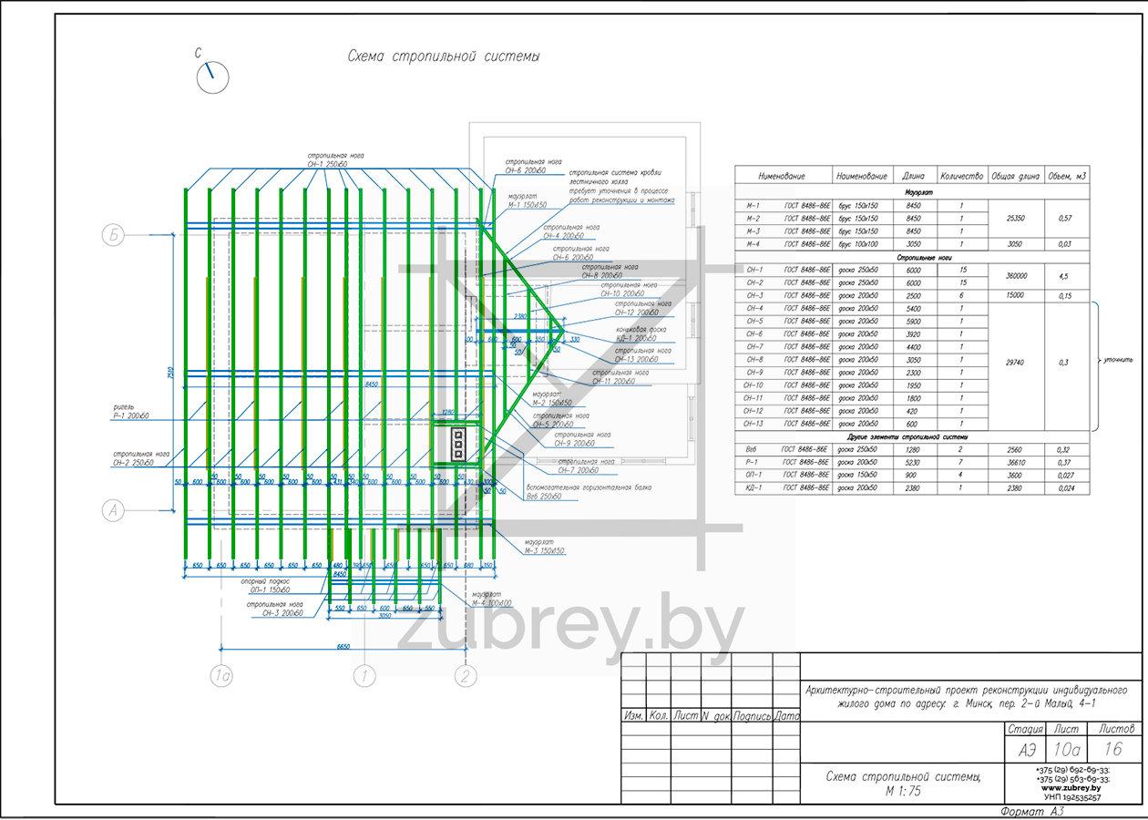план стропильной системы нового дома