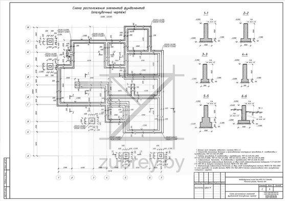 план фундамента и сечение элементов раздела констуркции железобетонные