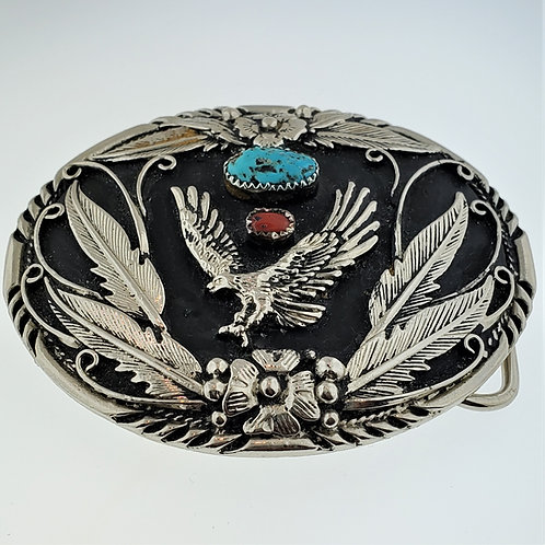 Turquoise & Coral Eagle Belt Buckle