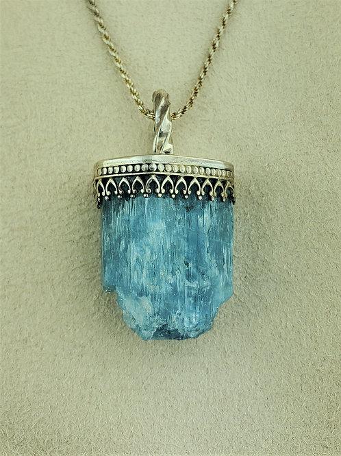 Aquamarine Specimen Pendant in Silver
