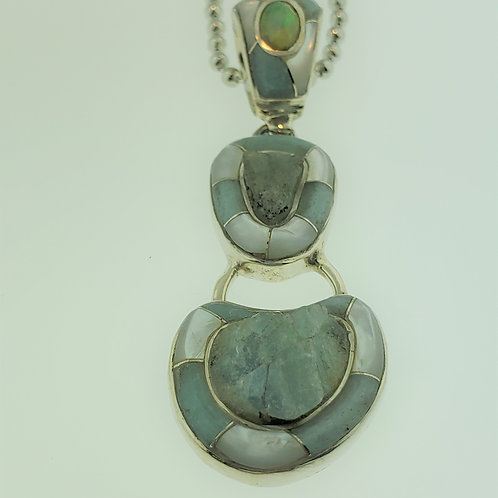 Blue Beryl Pendant with Opal in Silver