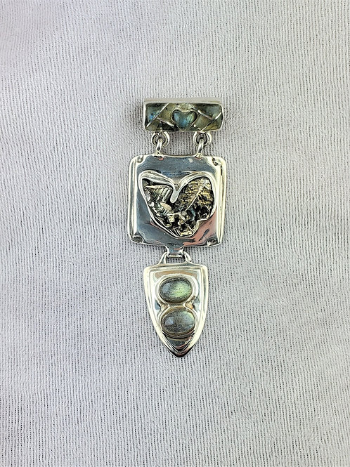 Bismuth and Labradorite Silver Pendant