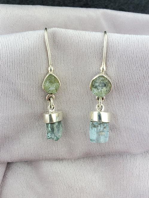 Aquamarine and Beryl Earrings