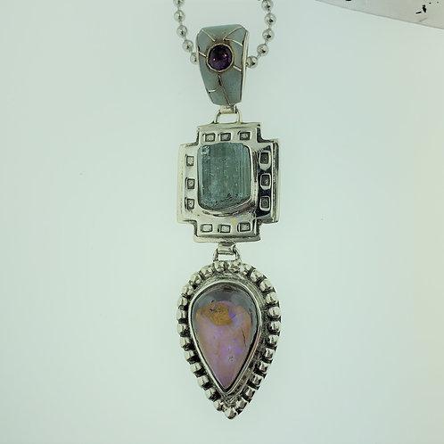 Aquamarine, Opal, and Amethyst Pendant