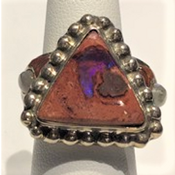 Opal with Moonstones Silver Ring