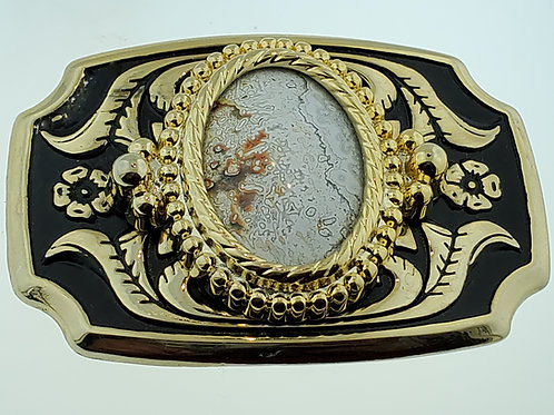 Crazy Lace Agate in Gold Tone Buckle