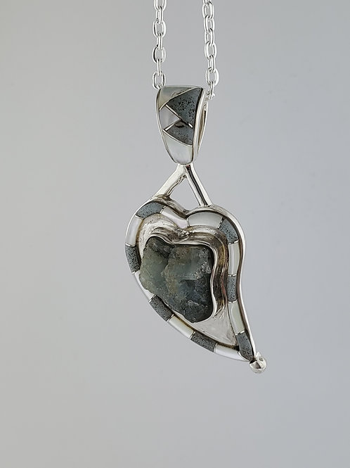 Aquamarine, Beryl, and Mother of Pearl Inlayed Heart with Sterling Silver