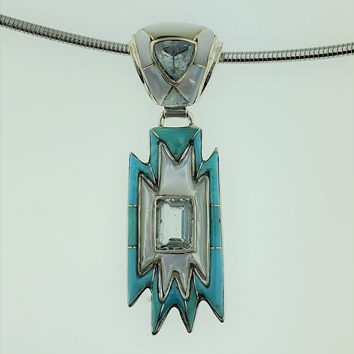 Aquamarine with Turquoise and Mother of Pearl in Sterling Silver Pendant