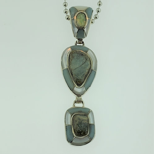 Beryl and Opal with Mother of Pearl Inlay Pendant