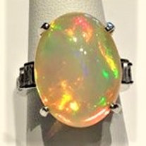 Opal with Diamond Baguette Accents