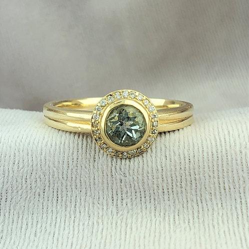 Aquamarine With Diamond Halo Gold Ring