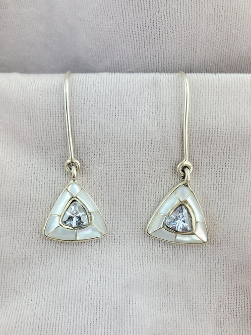 Aquamarine 1ct Trillion with Mother of Pearl Earrings