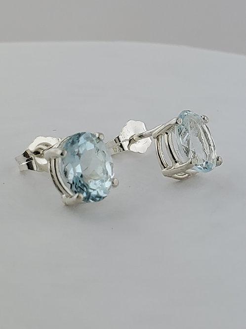 Aquamarine Oval Earrings