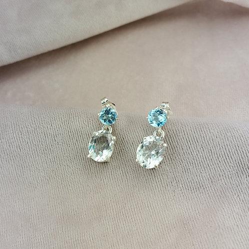 Aquamarine Earrings in Post Drop Setting