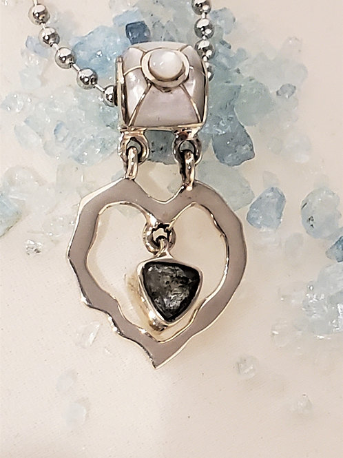 Aquamarine Trillion with Moonstone and Mother of Pearl Inlay Pendant
