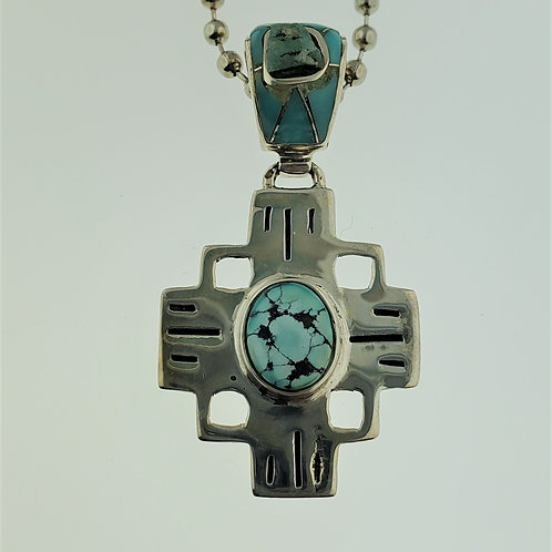 Turquoise and Amazonite Cross Pendant