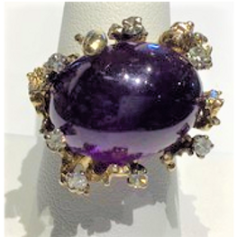 Amethyst with Diamonds in Gold Ring
