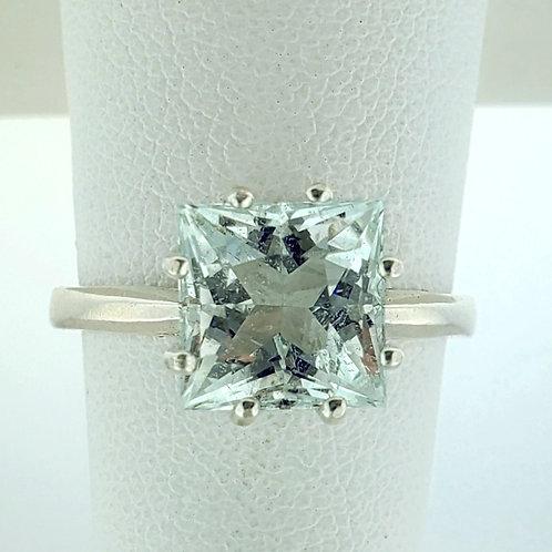 Aquamarine 7x7 Princess Cut Ring in Sterling Silver