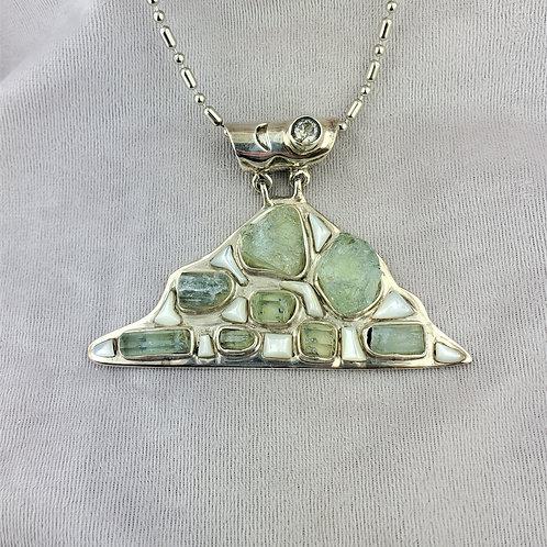 Aquamarine Mountain Sterling Pendant