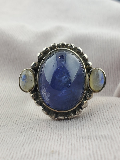 Cat's Eye Tanzanite with Moonstone Accents Set in Silver