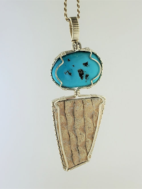 Turquoise & Pottery Wire Wrap Pendant