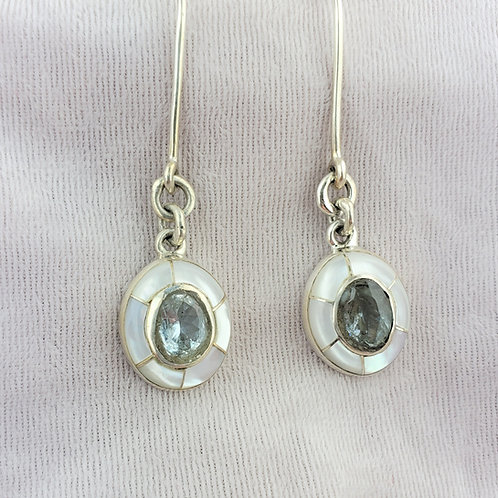 Aquamarine with Mother of Pearl Silver Earrings