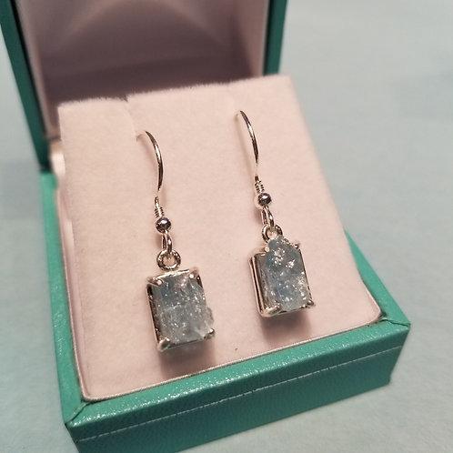 Aquamarine Uncut Set in Silver Hook Earrings