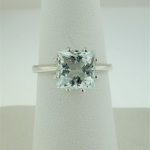 Aquamarine 8x8mm Princess Cut Ring in Silver