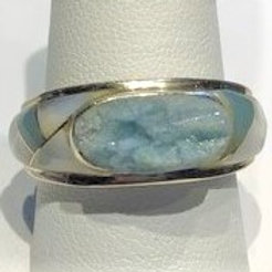 Raw Beryl, Aquamarine, & Mother of Pearl Ring