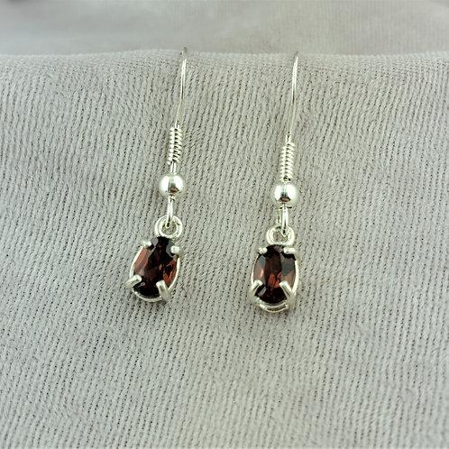 Garnet Oval 6x4mm Earrings