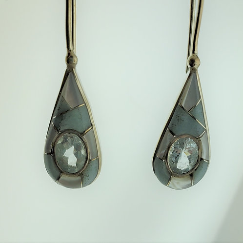 Aquamarine With Beryl and Mother of Pearl Silver Earrings