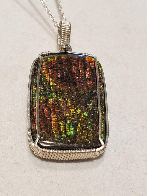 Ammolite Wire Wrap Pendant